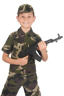 Free Young Boy Hold Gun Royalty Free Stock Images - 4637099