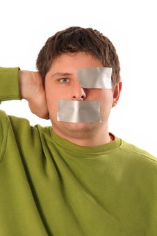 Guys With Tape Royalty Free Stock Image