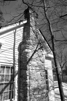 Free Old Stone Chimney B And W Stock Photography - 4637982