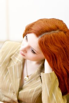 Free Melancholic Redhead Woman In Classical Suit Stock Photography - 4639922