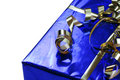Free Shiny Blue Gift With Gold Ribbons Royalty Free Stock Photography - 4644677