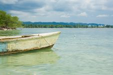 Boat In Water With Horizon Stock Photo