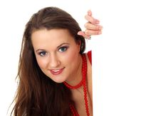 Free Portrait Of A Beautiful Woman Holding A Blank Bill Royalty Free Stock Photo - 4641075
