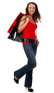 Free Shopping Pretty Woman Over White Background Stock Image - 4641251