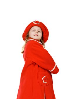 Free The Little Girl In A Red Coat Stock Image - 4641441