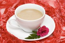 White Cup Of Coffee With Red Rose Royalty Free Stock Images