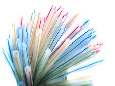 Colorful Straws In A Glass Stock Image