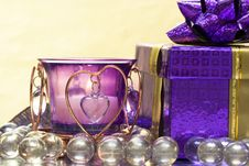 Free Violet Candle With Heart Royalty Free Stock Image - 4642596