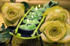 Free Row Of Green Candles With Roses Royalty Free Stock Photography - 4643257