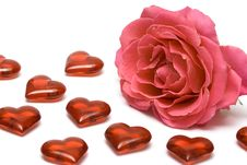 Free Red Rose With Hearts Royalty Free Stock Photography - 4643347