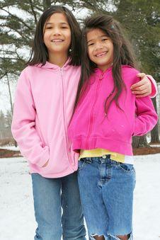 Free Two Girls Enjoying The Winter Royalty Free Stock Photos - 4644578