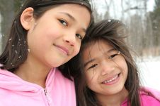 Two Girls Enjoying The Winter Royalty Free Stock Photography