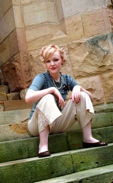 Woman On Stone Steps Royalty Free Stock Image