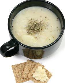 Herb Potato Soup And Crackers Royalty Free Stock Images