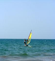 Free A Yellow Sailboard On The Sea Stock Photo - 4644990