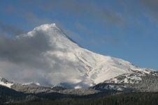 Mount Hood Covered In Ice And Snow Royalty Free Stock Image