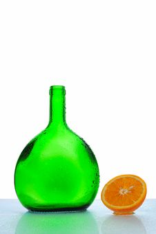 Free Green Bottle And Orange Stock Images - 4645374