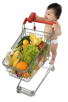 Baby With Shopping Cart Stock Photography