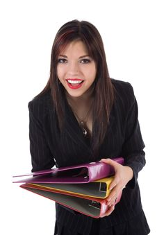 Free Business Woman With Folder Royalty Free Stock Photography - 4645837