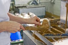Making Chocolate In A Bakery Royalty Free Stock Images