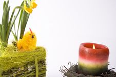 Free Basketry And Candle - Easter Stock Photography - 4648732