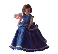 Doll In Blue With American Flag