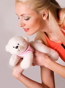 Caucasian Girl With Teddy Bear Royalty Free Stock Photography