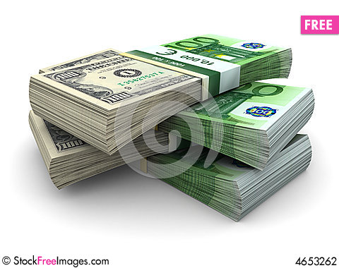 Free Stack Of 100 Eurodollar Stock Photography - 4653262