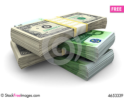 Free Stack Of $100 And 100€ Bills Royalty Free Stock Images - 4653339