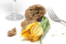 Tulip And Bread Stock Photo