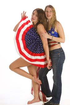 Patriotic Ladies Stock Photo