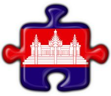 Cambodia American Button Puzzle Flag Royalty Free Stock Photography