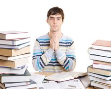Free The Young Student With Books Isolated On A White Stock Photos - 4655053