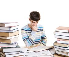 Free The Young Student With Books Isolated On A White Royalty Free Stock Images - 4655059
