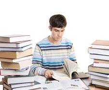 Free The Young Student With Books Isolated On A White Royalty Free Stock Photo - 4655065