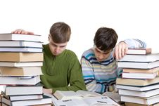Free Two Students With Books Isolated On A White Royalty Free Stock Photo - 4655085