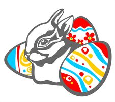 Free Rabbit And Easter Eggs Royalty Free Stock Photos - 4656298