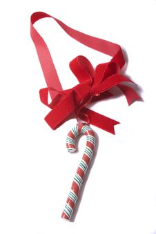 Free Candy Cane On Red Ribbon Stock Image - 4656671