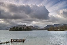 Submerged Fence On Derwentwater Royalty Free Stock Photo