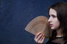 Girl With A Fan Stock Photos