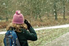 Free Girl Taking Photos Of The Snow Royalty Free Stock Photo - 4658285