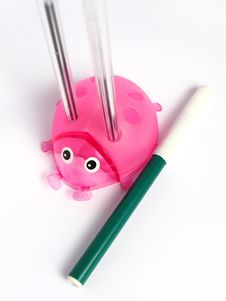 Free Pink Ladybug Pencil Holder Stock Images - 4659534