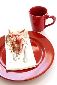 Red Table Setting Stock Photography