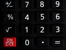 Black Basic Calculator Buttons Stock Photography