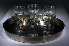 Free Glasses On A Plate On A Table Royalty Free Stock Photography - 4659897