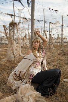 Free Fashion Girl In A Desolated Landscape Royalty Free Stock Photos - 4659948