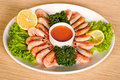Free Shrimps With Lemon, Sauce And Lettuce Stock Photos - 4665973