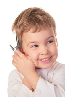 Free Smiling Girl Speaks On Cell Phone Royalty Free Stock Images - 4660409