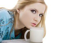 Free Blonde Drinks Milk Royalty Free Stock Photography - 4661237
