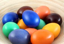 Color Easter Eggs On Plate Royalty Free Stock Photo